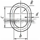 Звено овальное типа ОВ2, ГОСТ 25573-82 (схема)