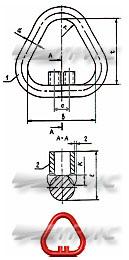 Звено неразъемное типа Т с двумя упорами, по РД 10-33-93 (схема)
